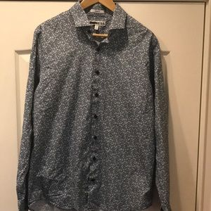Men's floral print button down long sleeve